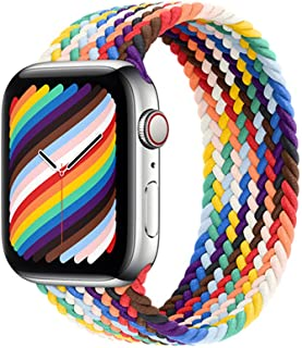 H&S Stretchy Solo Loop Strap Compatible for Watch Elastics Soft Breathable Stretch Sport Band 38mm 40mm 42mm 44mm for Men Women Girls with Series (Rainbow, 42/44-S)
