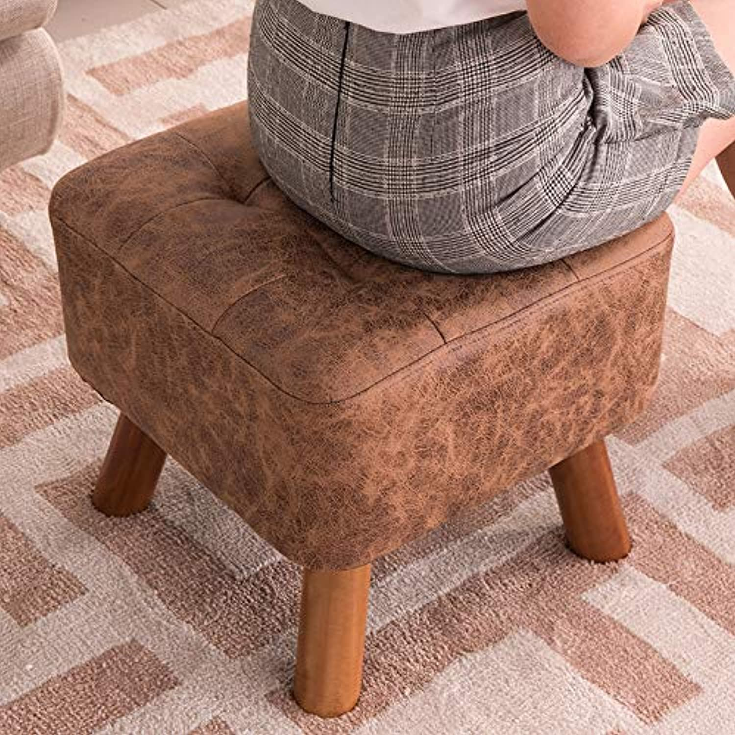JEZBSY Change shoes Stool Solid Wood Stool Stool Fashion Creative Sofa Stool Coffee Table wear shoes Sitting pier Dressing Footstool shoes Bench JEZBSY