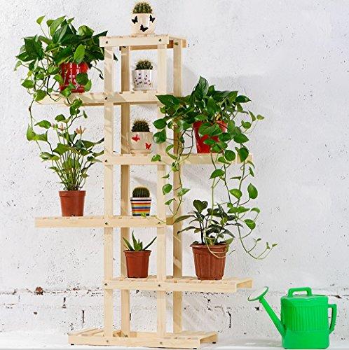 Ensemble de plantes à l'intérieur Rack à fleurs en bambou Présentoir d'étagères à balcon multi-étages ( Couleur : Bois Couleur )
