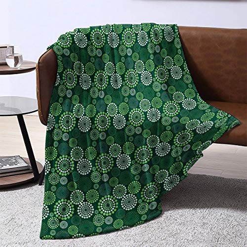 LanQiao Camp Chair Blanket,Abstract Dotted Pattern with Green Tones Geometric Illustration Modern Art,Gift for Girlfriend80'x60'