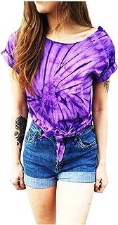 Simayixx Women's Casual Short Sleeve Shirts Twist Knot Crop Tops Novelty Colorful Rainbow Tie Dye Print T-Shirt