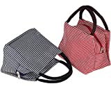 Lunch Bags, Danibos Solid Useful Linen Cotton Stripe 2pc Fashion Lunch...