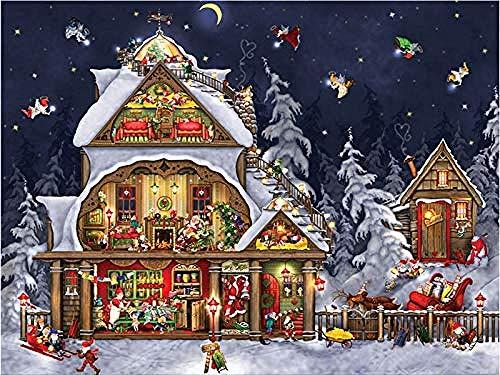 ZYYCJ 5D Full Diamond Painting Szenische Kreuzstich Full Round Diamond Stickerei Weihnachtsbilder Von Strass Kinder Geschenke-50x60cm/20x24inch