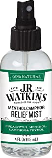 J.R. Watkins Natural Relief Mist, Menthol Camphor Nasal Congestion Relief Spray, Single, Decongestant for Stuffy Nose, Allergies, and Flu, USA Made and Cruelty Free, 4 fl oz