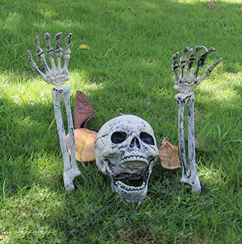 Hinleise Decoración Horror de Halloween Forma de Miedo Cráneo Adorno de Hueso para Jardín Bar Casa Embrujada