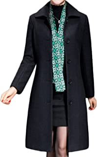 Jenkoon Women's Wool Trench Coat Winter Long Thick Overcoat Walker Coat