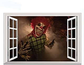 Home Find Halloween Scary Clown Window Decorations Decals 3D Fake Windows Stickers Scary Horror Wall Decals Vinyl Art Mura...