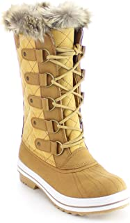 Nature Breeze FROST-03 Women's Lace Up Quilted Mid Calf Winter Snow Boots Tan