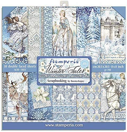 STAMPERIA PAPER PAD 8X8 10PK WNTR Set de Scrapbooking Winter Tales 20x20cm, Cuentos de Invierno, 10 Diseños/1 Cada Uno, talla única