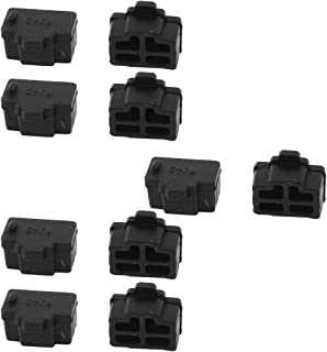 uxcell Ethernet Hub Port RJ45 Anti Dust Cover Cap Protector Connector 10Pcs Black