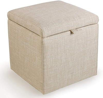 Zapateros Presidente Reposapiés Caja de almacenamiento Sofá heces Cubo Puff heces Otomana cuadrada con tapa for Pasillo  Sala de estar  Dormitorio de habitación Máx.150 kg 43x43x45cm (Color : Beige) : Amazon.es: Hogar