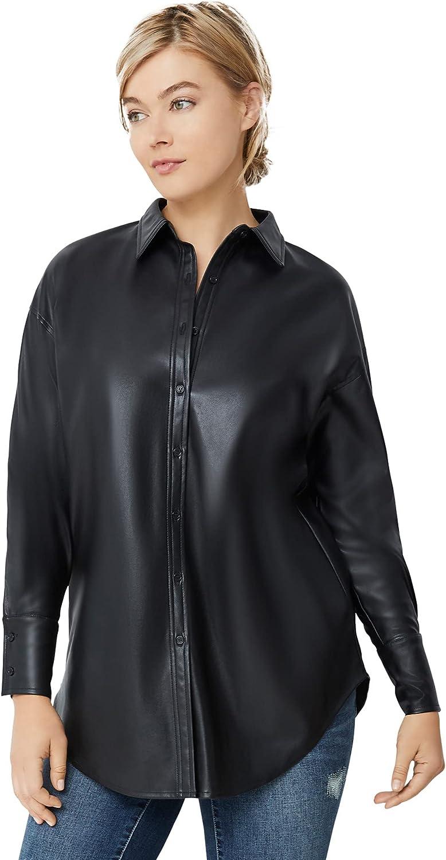 ellos Women's Plus Size Faux Leather Button Front Tunic
