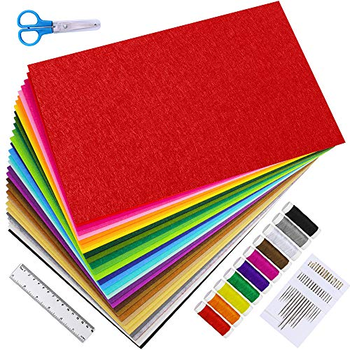 "Supla Felt Sheets 12"" x 8"" Set 30 Colors Felt Sheets Stiff Felt Fabric Hard Felt Squares Craft Felt 2mm Thickness for Kids School DIY Crafts Patchwork Embroidery Sewing Crafting Project"