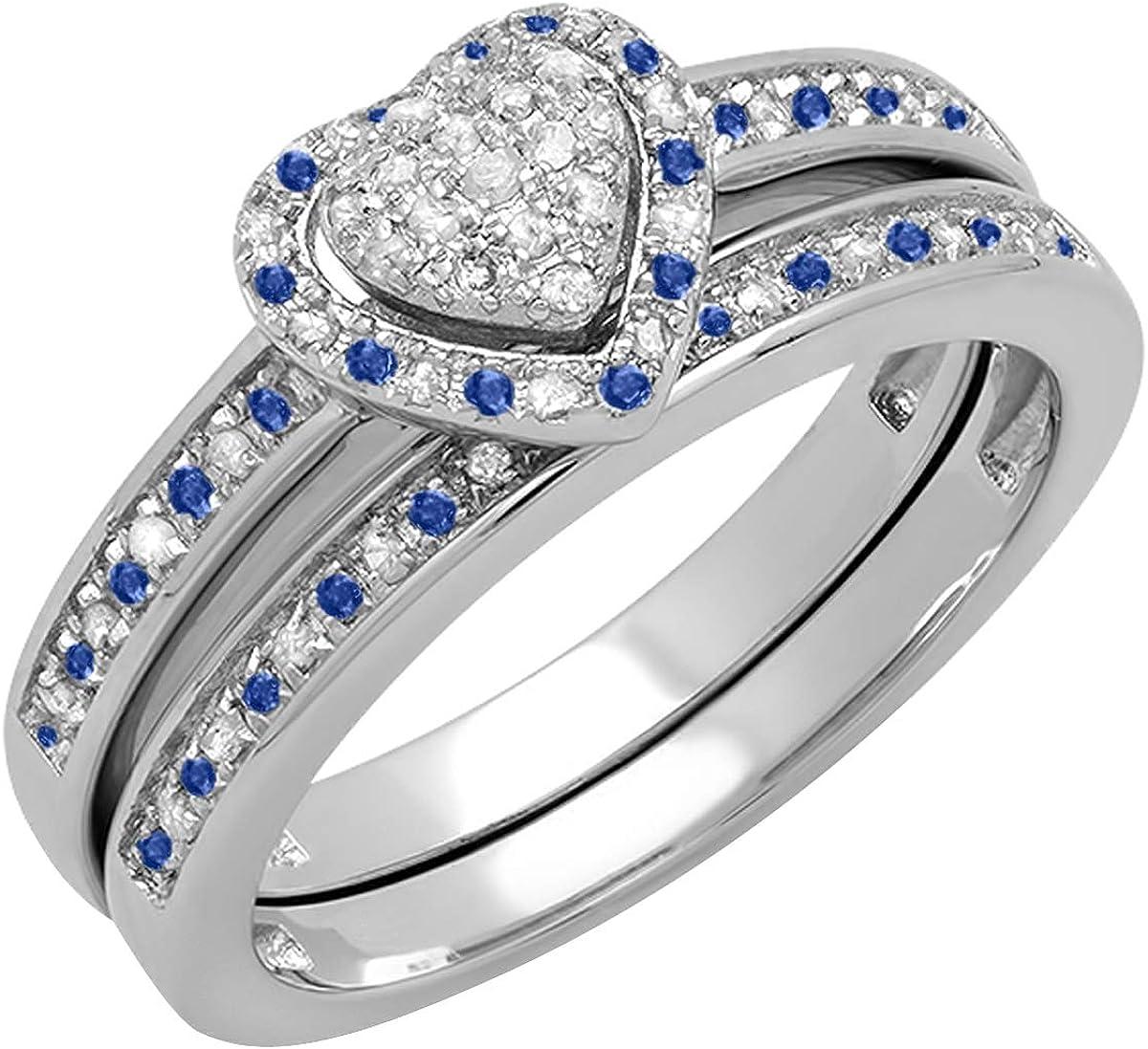 Dazzlingrock Collection Max 85% OFF Round favorite Blue Ladi Diamond Sapphire White