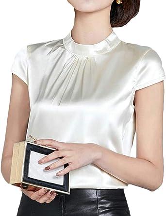 Blusa de Seda para Mujer, Manga Corta, Estilo Suave - Naranja ...