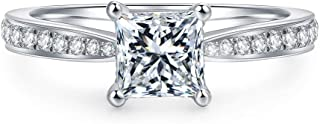 4-Prong Set 1.0 CT Princess Brilliant Cut Simulated Diamond CZ Solitaire Engagement Wedding Ring Rhodium Plated Sterling Silver, 2.16 CTW