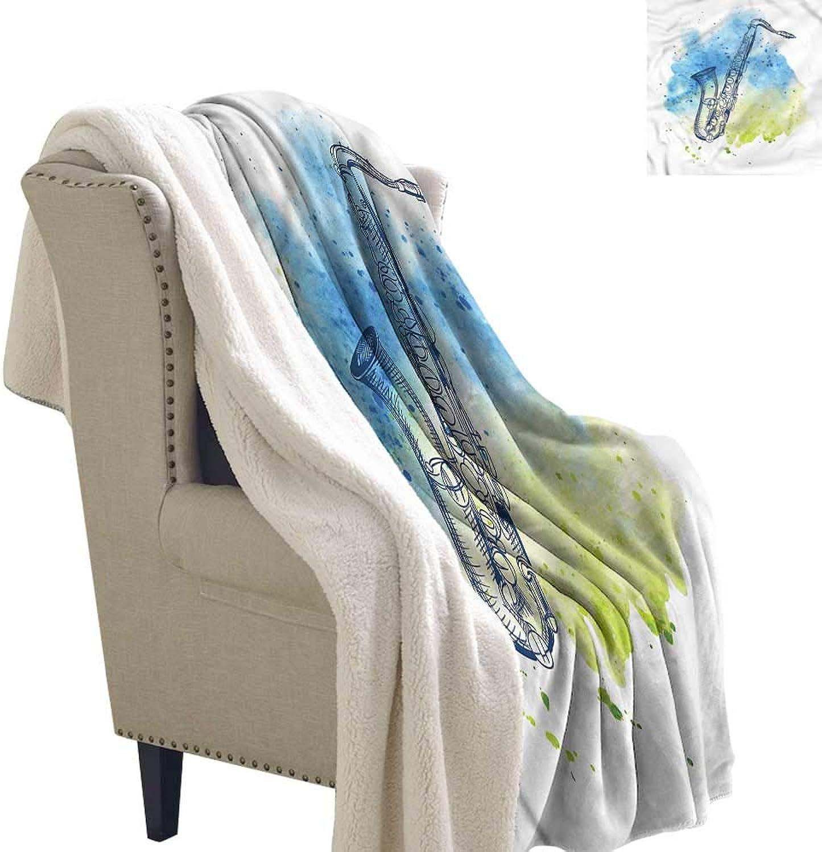Beihai1Sun Music Blanket Small Quilt Watercolor Style Sketch Sax Fashion Design 60x32 Inch