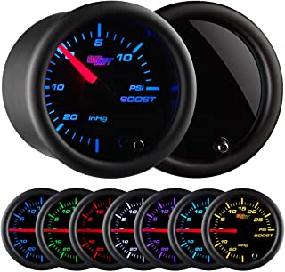 GlowShift Tinted 7 Color 15 PSI Turbo Boost/Vacuum Gauge Kit - Includes Mechanical Hose & T-Fitting - Black Dial - Smoked Lens - for Cars - 2-1/16