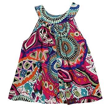 Seyurigaoka 2-7Y Toddler Kids Baby Girl Clothes Bohemian Sleeveless Dress African Dashiki Tutu Sundress Summer Outfits  Green 5-6 Years