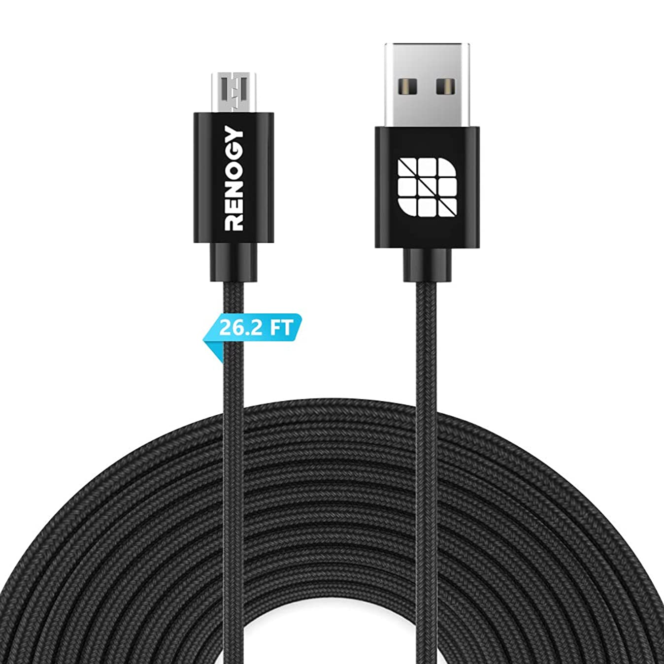 Renogy 26.2ft Power Extension Cable Nylon for WyzeCam, Wyze Cam Pan, Yi Camera, NestCam Indoor, Netvue, Furbo Dog, Amazon Cloud Cam, USB to Micro USB Charging Cord for Security Cam with Wire Clips r4237066678