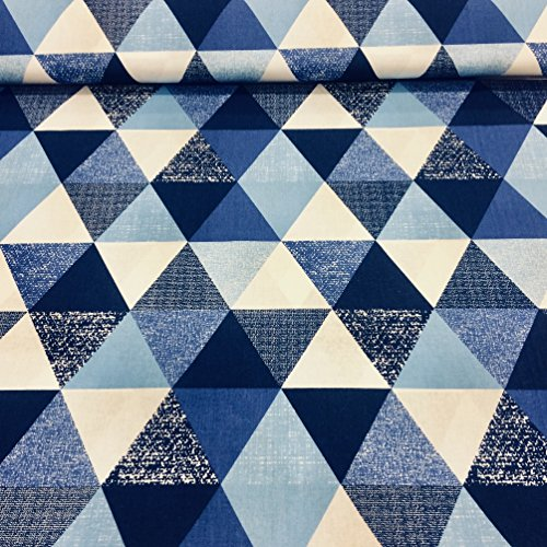 Pure Textilien Erstklassiger Baumwollstoff 0,5lfm, 100% Baumwolle, modische Muster, Breite 160cm – geometrische Muster, Blau Dreiecke