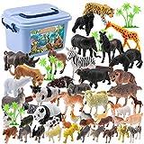 LoKauf 44St. Tiere Figuren Set Wildtiere Figuren Tierfiguren Bauernhof Tiere Spielzeug für Kinder -
