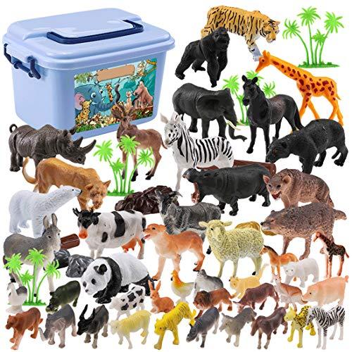LoKauf 44St. Tiere Figuren Set Wildtiere Figuren Tierfiguren Bauernhof Tiere Spielzeug für Kinder