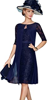 88c09d530dc6 Fenghuavip Round Collar 3/4 Sleeves Navy Blue Chiffon Bridal Mother Dress