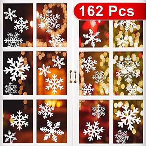 Schneeflocken Fensterbild 162pcs, Sylanda Fensterbilder Fensterdeko Weihnachten Selbstklebend Weihnachtsdeko Fenstersticker für Türen Schaufenster Vitrinen Glasfronten