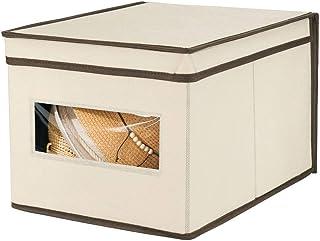 mDesign boîte de rangement empilable – caisse de rangement avec couvercle et fenêtre pour chambre, placard, etc. – grand p...