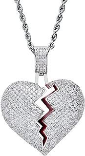Hip Hop Twist Chain, Broken Heart Bandage Pendant Necklace Chain, Stitching Love Couple Pendant Necklace for Men Women