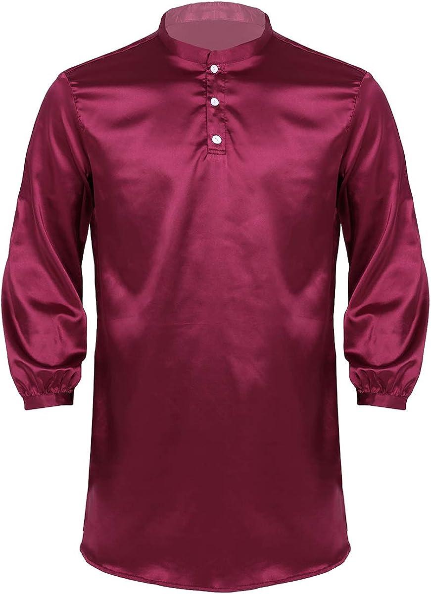 QinCiao Mens Robe Pajamas Silk Satin Long Sleeve Casual Bathrobe Sleepwear Homewear