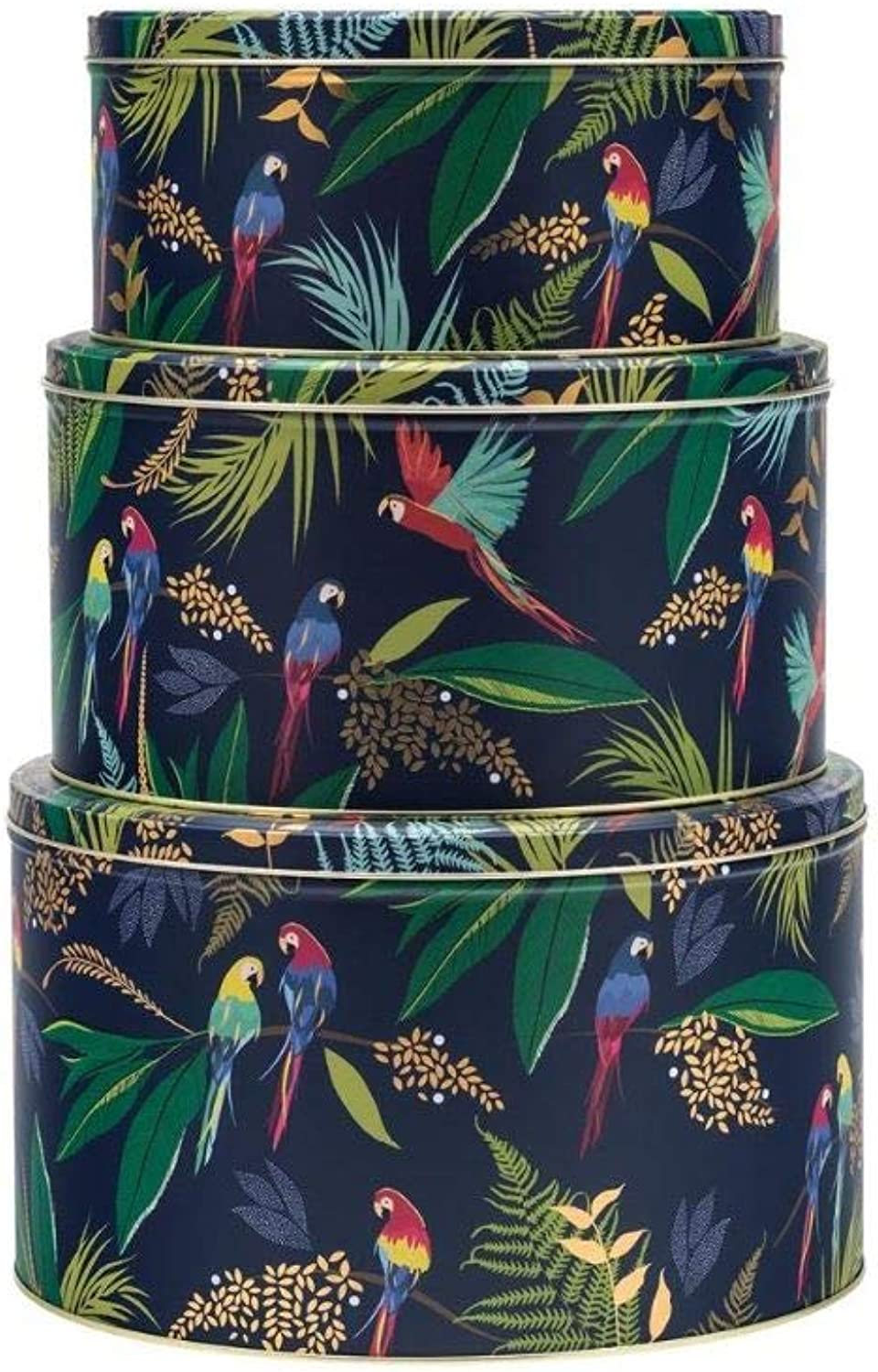 Sara Miller Set of 3 Nested Round Cake Tins in Tropical Parred Design   Green gold Purple Jungle Themed Airtight Cake Storage Tin Made in UK