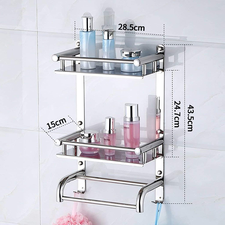 Towel Rack Towel Rack Double Bathroom Towel Rack, 304 Stainless Steel Wall Mount, Sturdy and Durable Family Bathroom Kitchen Wall Mounted Towel Rack, As Shown, 30mc43.5cm Bathroom Towel Shelf