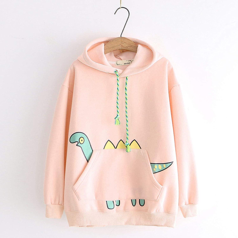 Women Girls Cute Dinosaur Long Sleeve Casual Sweater Pullover Sweatshirt Hoodie Tops with Pocket FABIURT Womens Hoodies
