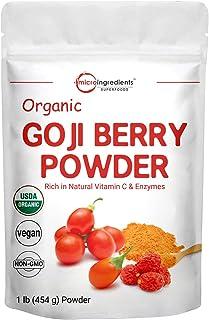 Organic Goji Powder, Freeze Dried Goji Berry Powder, 1 Pound (16 Ounce), Pure Goji Supplement, Natural Booster for Energy,...
