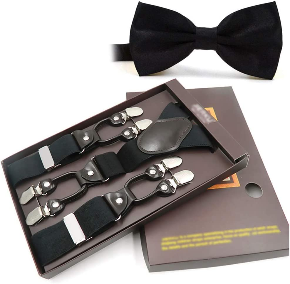 Mens X Shape Braces Adjustable Elastic Suspenders Heavy Duty Durable Suspenders Adjustable and Elastic Y Form Unisex One Size Fits All Women and Mens Braces Bow Tie Set Very Strong Metal Clips Wide 3.