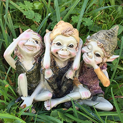 Pixie Hear, See, Speak No Evil - Green Garden Home Decor - Fun Quirky Gift Figurine - Anthony Fisher by Fiesta Studios