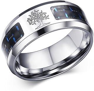 خاتم زفاف للرجال من Xannon PAI مصنوع من مادة ألياف الكربون بتصميم شجرة الحياة الدينية، مقاس 11