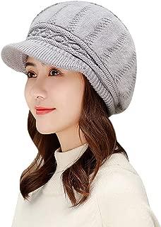 Women Winter Warm Knit Newsboy Hat Wool Snow Ski Caps with Visor Beret Stripe Baggy Crochet Beanie Hat Newsboy Cabbie Beret Cap