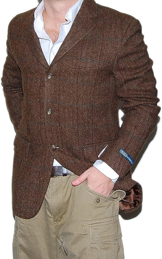 Ralph Lauren Polo Mens Wool Sport Coat Blazer Plaid Brown Pinstripe taly 40R