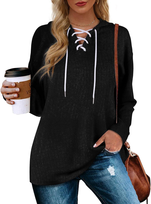 Aloodor Women's Hoodies Pullover Long Sleeve Sweatshirts Drawstring Loose Casual Fall Clothing S-2XL