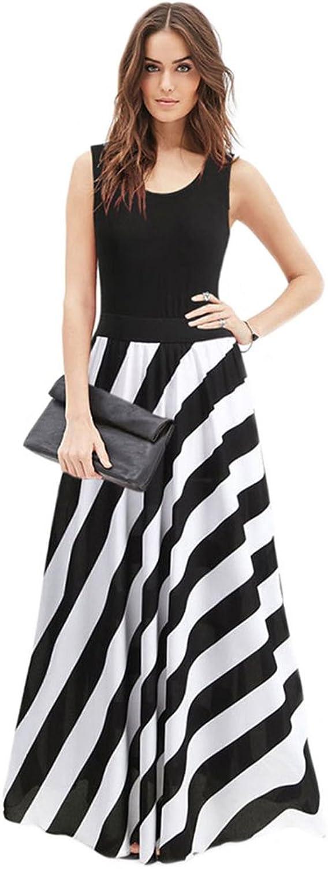 Adrinfly Women's ONeck Striped Dress Sleeveless Casual Beach Dress Tank Long Maxi Dress