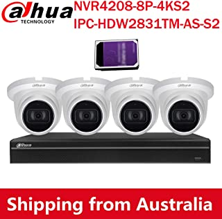 Dahua 4K(8MP) 8CH PoE Home Security Camera System, 8MP Startlight Outdoor PoE IP Cameras with Build in MIC, 4K 8-Channel NVR(NVR4208-8P-4KS2+IPC-HDW2831TM-AS-S2(4PCS)+4TB HDD(1PCS))