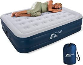 Active Era Air Mattress with Built in Electric Pump & Raised Pillow – Puncture Resistant with Waterproof Flocked Top, Elevated Inflatable Air Bed for Guests