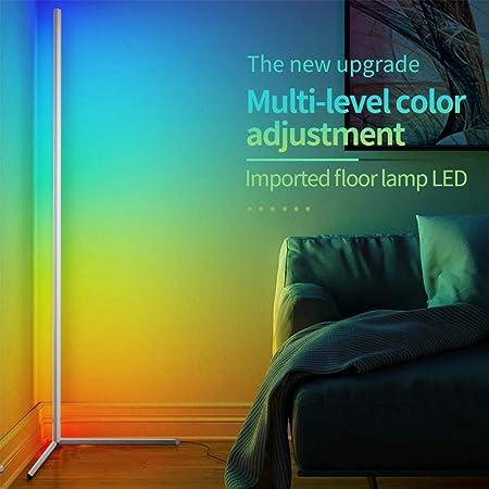 Lampadaire LED Salon RGB à Intensité Variable Lampadaire sur Pied d'angle Lampe d'intérieur Éclairage Décoratif Avec Télécommande pour Le Salon, la Cuisine de la Chambre (Blanc)