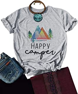 ZJP Women Casual for Happy Camper Shirts Short Sleeve Letter Printed T Shirt Tops