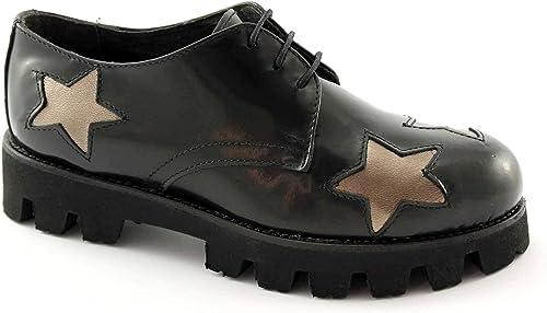 Divine Madness 9520 9520 Lacets des Chaussures Noires Femme Derby Lisse étoiles  qualité authentique