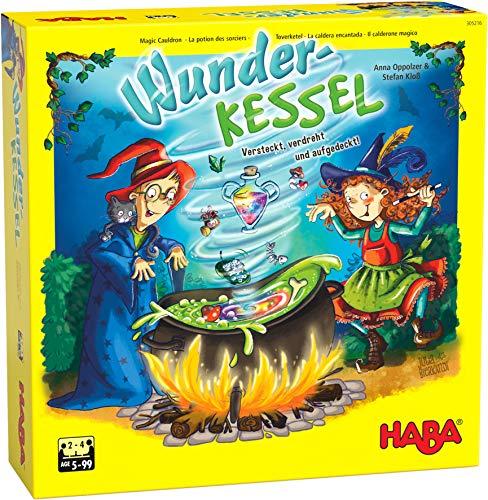 HABA 305216 - Wunderkessel, Memo-Laufspiel für 2-4 Spieler ab 5 Jahren, origineller Spielplan mit Drehmechanismus und Figuren aus Holz