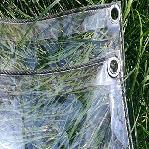 GWZSX Impermeable Claro PVC Lona De Protección Lona Transparente A Prueba De Viento Plegable Lonas para jardinería de pérgolas 0.4mm Grueso con Ojales-1.3x3/4.3x9.8ft